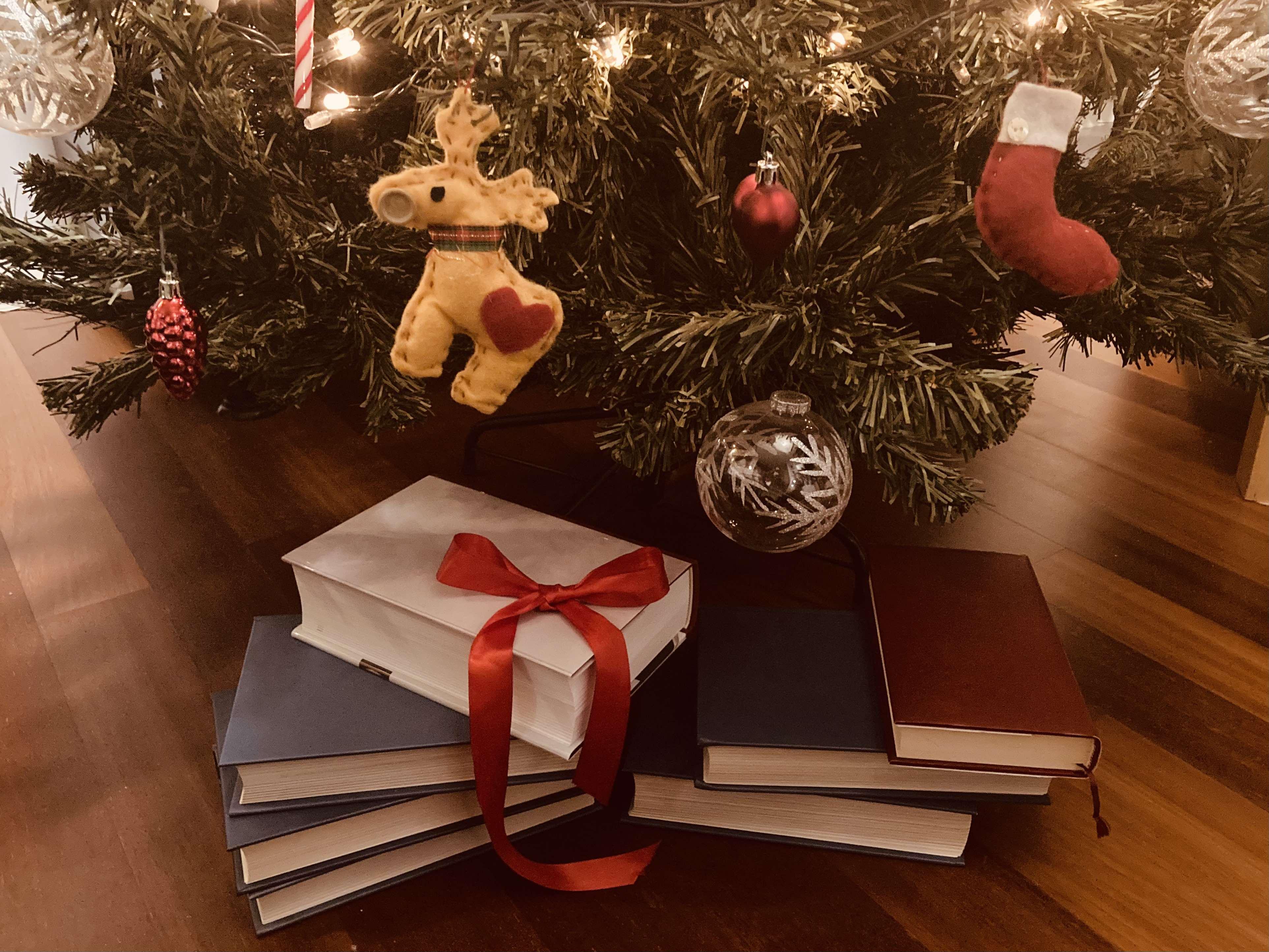 libri sotto albero